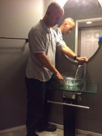 fixing plumbing glass sink